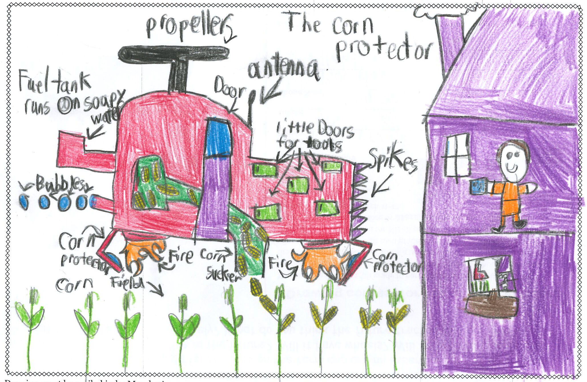 Kids draw tractors of the future.