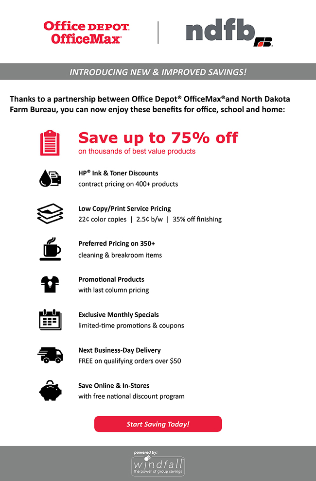 Office Depot and Office Max savings for NDFB members