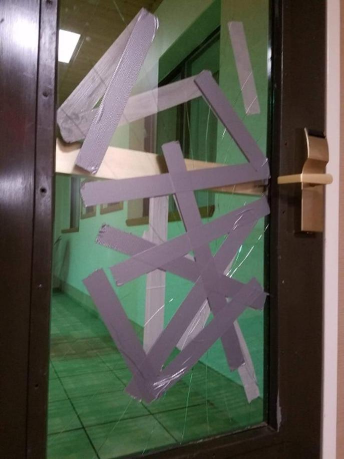 Borken door at a motel