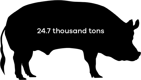 hogs ate 24.7 thousands tons of soybean meal in 2016